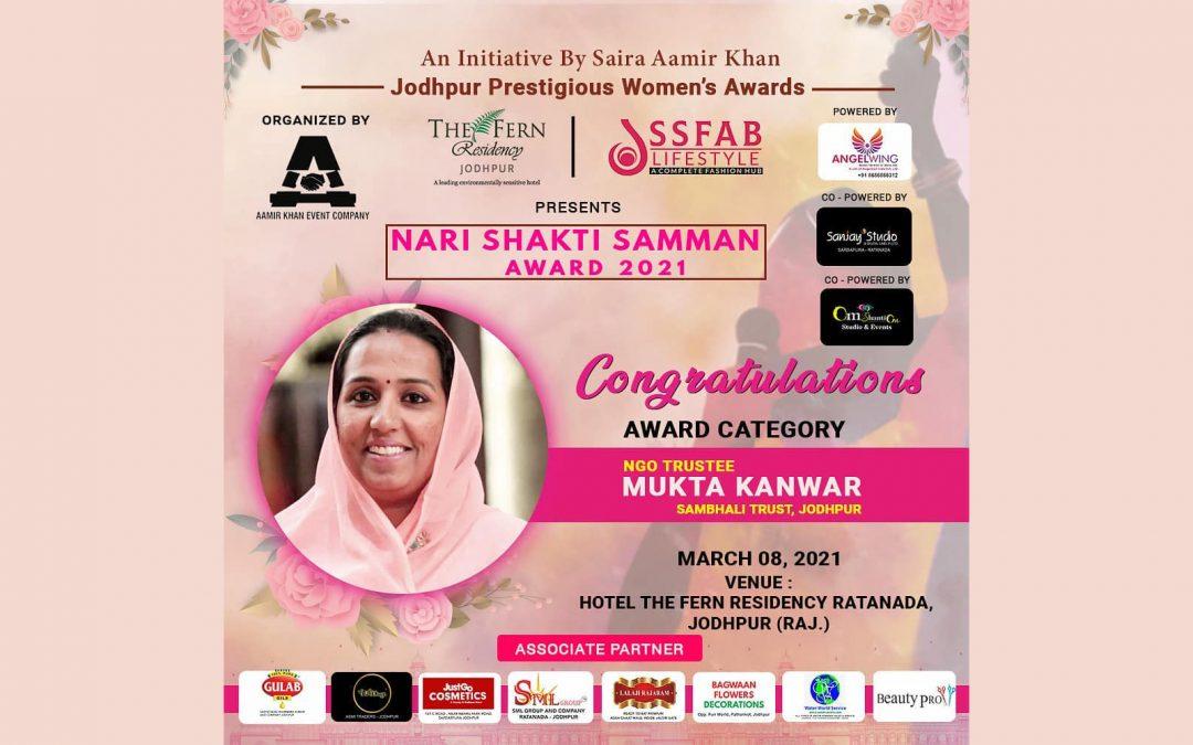 """Der """"Nari Shakti Samman Award 2021"""" wurde an Mukta Kanwar verliehen"""